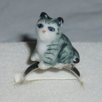 Kitten Ring Stripey Cat Porcelain Miniature