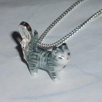 Kitten Pendant Stripey Cat Tail Porcelain Miniature Chain