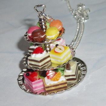 Cake Stand Pendant Miniature Cakes Macaroons Tea Alice