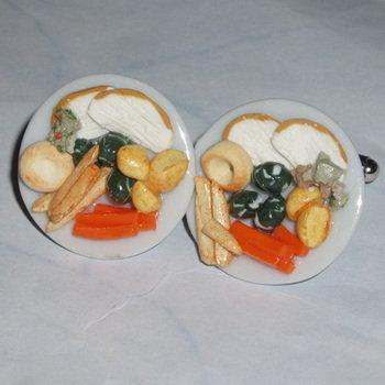 Chicken Dinner Cufflinks Roast Sprouts Carrots Parsnips Potatoes