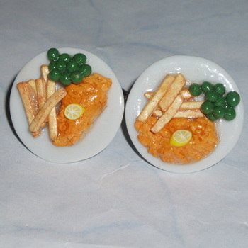 Fish Chips Cufflinks Peas Lemon Teatime Plate