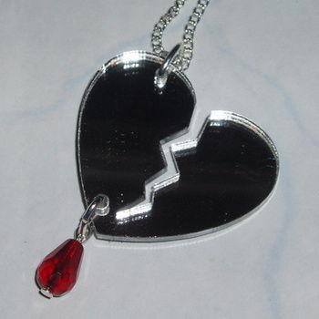 Broken Heart Pendant Silver Mirror Red Acrylic Laser Kitsch Stylish