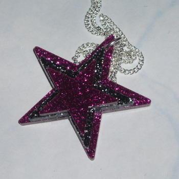 Star Pendant Three Pink Black Glitter Acrylic Laser Kitsch Stylish