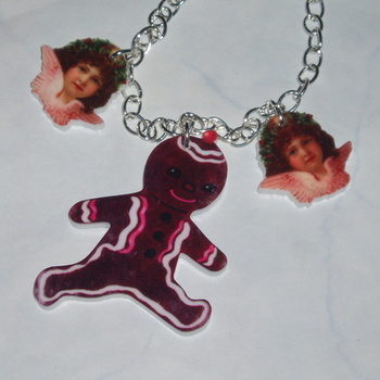 Gingerbread Man Necklace Pendant Christmas Angels Acrylic