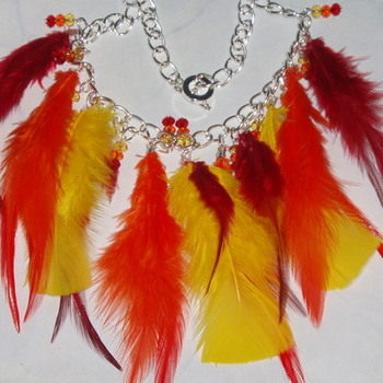 Feather Necklace Yellow Orange Red Crystals