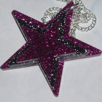 Star Brooch Three Pink Black Glitter Acrylic Laser Kitsch Stylish Pin