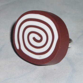 Swiss Roll Ring Adjustable Brown White Fimo