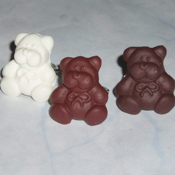 Teddy Bear Ring White Brown Fimo Adjustable
