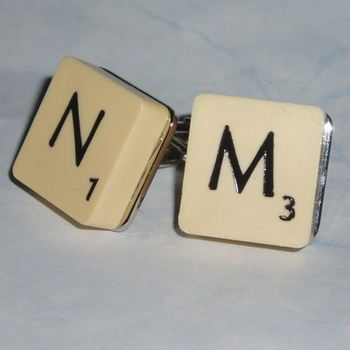 Scrabble Cufflinks Personalised Letters Initials Vintage Wedding Gift