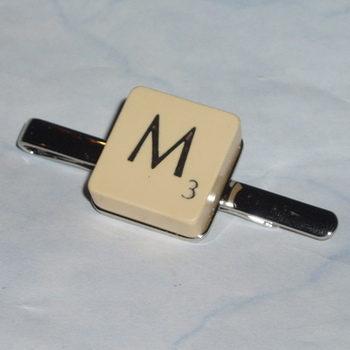 Scrabble Tie Clip All Letters Initial Swarovski
