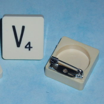 Scrabble Brooch Pin All Letters Initial Swarovski