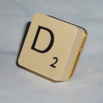 Scrabble Tie Tack All Letters Initial Swarovski Lapel Pin