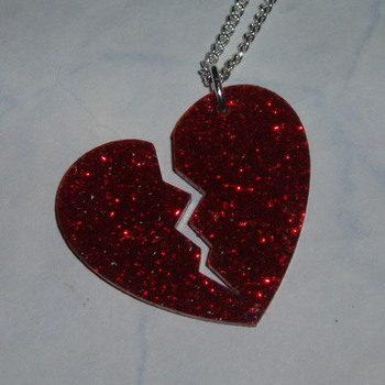 Broken Heart Pendant Red Glitter Acrylic Laser Kitsch Stylish