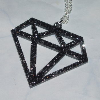 Diamond Pendant Black Acrylic Laser Cut Gem Sparkling