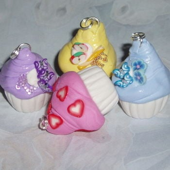 Cupcake Pendant Icing Colours Cake Fimo Chain Handmade