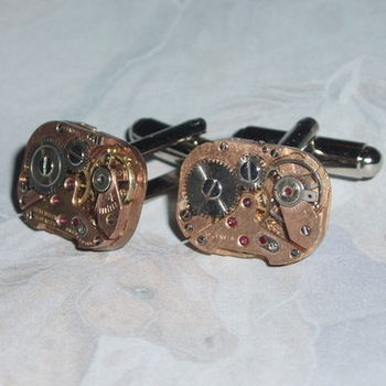 Steampunk Cufflinks Vintage Watch Movements Rose Brass Copper