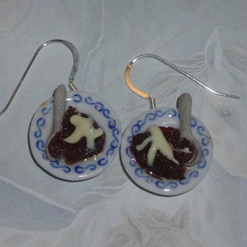 Pudding Earrings Christmas Ceramic Bowl Spoon Cream Brandy