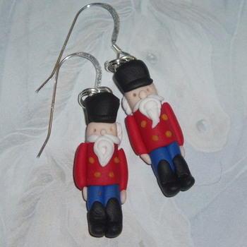 Nutcracker Earrings Christmas Soldier Red Coat Black Hat Trousers