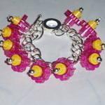 Lego Charm Bracelet Pink Flowers Yellow Retro Funky