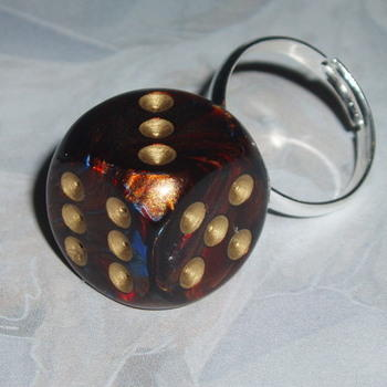 Dice Ring Blue Blood Red Gold Rockabilly Chessex Adjustable