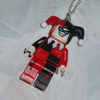 Lego MiniFigure Pendant Batman Harley Quinn Black Red Rare Geek