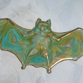Bat Pendant Necklace Verdigris Wings Stretched Gothic Steampunk