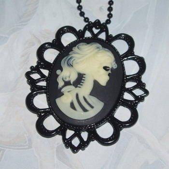 Corpse Bride Necklace Pendant Fimo Cabochon Filigree Steampunk