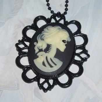 Corpse Bride Necklace Pendant Fimo Cabochon Filigree Steampunk