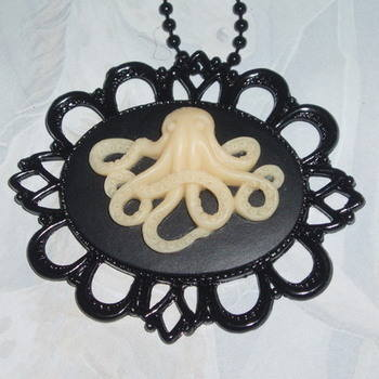 Octopus Necklace Pendant Fimo Cabochon Filigree Steampunk