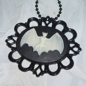 Bat Necklace Pendant Fimo Cabochon Filigree Steampunk
