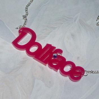Dollface Necklace Pendant Pink Acrylic Word Swarovski