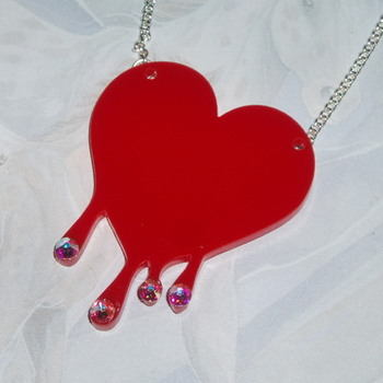 Heart Pendant Dripping Red Acrylic Laser Swarovski Kitsch Stylish