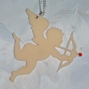 Cupid Pendant Necklace Cream Acrylic Wing Bow Arrow Swarovski