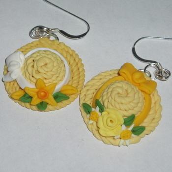 Bonnet Earrings Fimo Flowers Ribbon Straw Hat Sterling