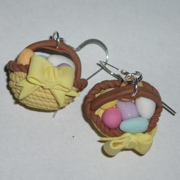 Easter Basket Earrings Fimo Eggs Yellow Ribbon Straw Hat Sterling