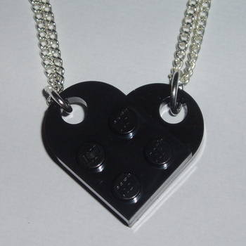 Lego Duo Heart Pendant Black Swarovski Love Rockabilly Retro