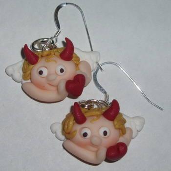 Angel Earrings Horns Heart Fimo Valentines Day Handmade Love