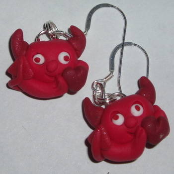 Devil Earrings Red Horns Heart Fimo Valentines Day Handmade Love