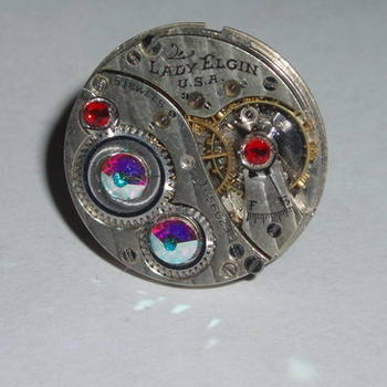 Steampunk Ring Vintage Lady Elgin Watch Movement Swarovski