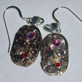 Steampunk Earrings Vintage Watch Movements Swarovski