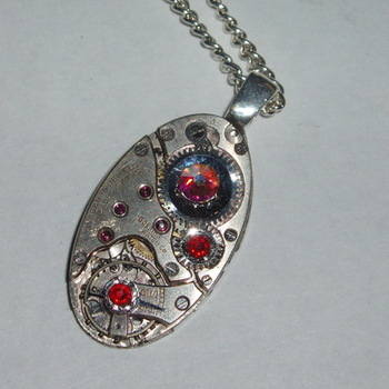 Steampunk Pendant Vintage Swiss Watch Movement Swarovski