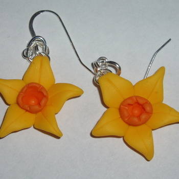 Daffodil Earrings Yellow Cream Flowers Spring Fimo Sterling Handmade