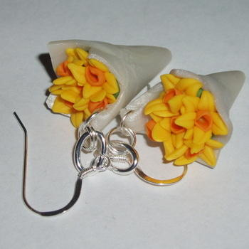 Daffodil Earrings Bunch Yellow Flowers Spring Fimo Sterling