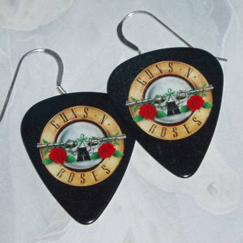 Guitar Pick Earrings Guns N' Roses Punky Goth Sterling Cross Roses