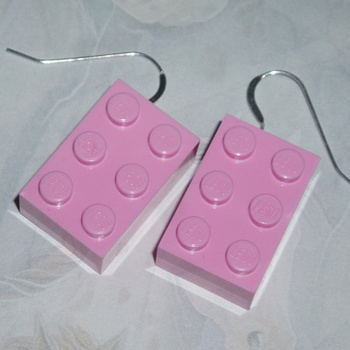 Lego Earrings 3x2 Pale Pink Rare Drop Sterling Brick Swarovski Retro