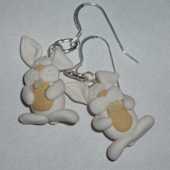 White Rabbit Earrings Fimo Bunnies Sterling Handmade Scotland