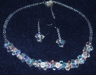 Swarovski crystal 8mm top drilled cluster set with bicone back