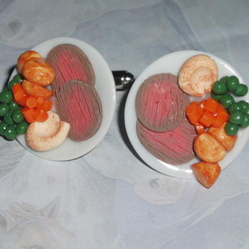 Roast Beef Dinner Cufflinks Peas Carrots Yorkshire Pudding Potatoes