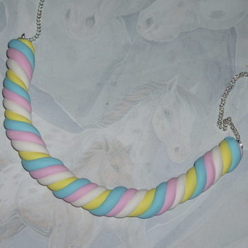 Flump Necklace Twisted Marshmallow Blue Pink White Yellow Candy