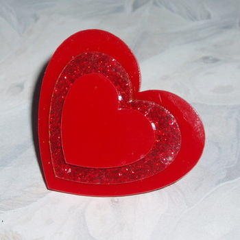 Heart Ring Three Red Acrylic Glitter Laser Kitsch Stylish